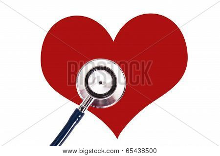 stethoscope with heart concept of cardiovascular health