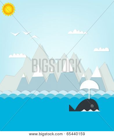 whale floating on a background of mountains