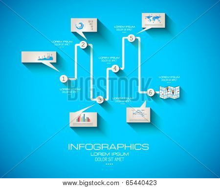 Modern Infographic template with Flat UI style. Timeline virtual rapresentation to use for data ranking of product classification.