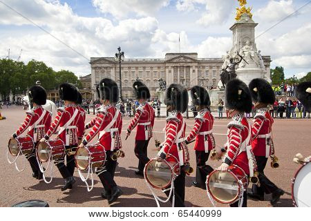 LONDON, UK - MAY 14, 2014: - Members of the Queen's Horse Guard on duty. Horse Guards Parade, London