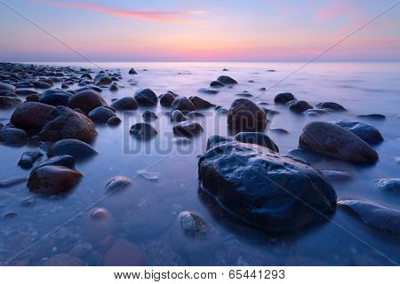 Beautiful Stones In The Ocean. The Baltic Sea Coast, Poland.