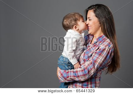 Happy mom and cute little boy