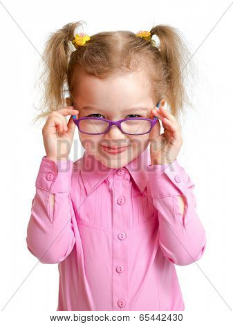 Funny girl in glasses isolated on white