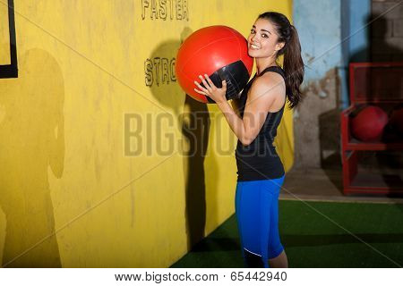 Portrait With A Medicine Ball