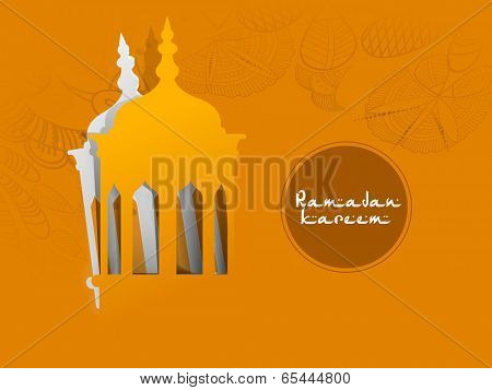 Creative paper cut out design of arabic lantern on floral decorated yellow background for holy month of Ramadan Kareem.