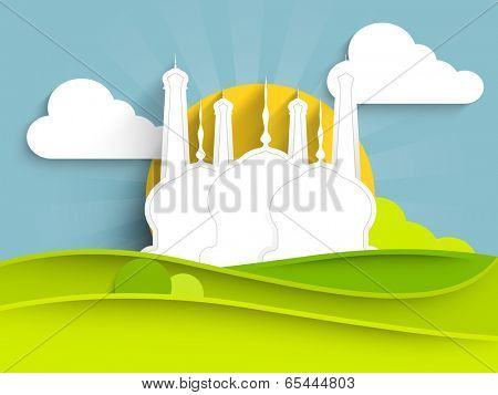 Paper design of a mosque on beautiful morning nature background for holy month of muslim community Ramadan Kareem.