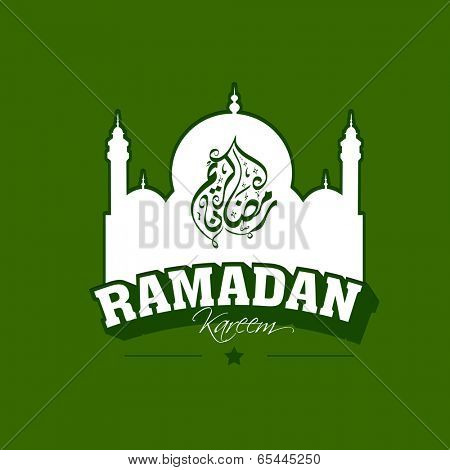 Arabic islamic calligraphy of text Ramadan Kareem with mosque on green background, Vintage flyer, poster or banner design for holy month of Ramadan Kareem.