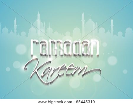 Poster, banner or flyer design with stylish text Ramadan Kareem on shiny mosque silhouette blue background for holy month of muslim community.
