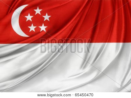 Closeup of silky Singaporean flag