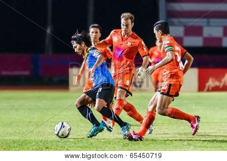 Sisaket Thailand-may 21: Surasak Prachoosap Of Angthong Fc. (blue) In Action During Thaicom Fa Cup B