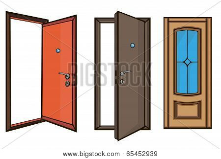 closed and open doors.cartoon style