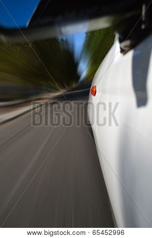Camera on the side of a car speeding