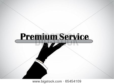 Profesional Hand Silhouette Presenting Premium Service Text - Concept Illustration.