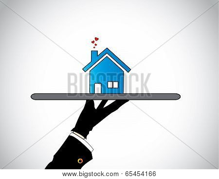 A Housing Salesman Hand Silhouette Showcasing Presenting Best Home Or House With Flying Hearts