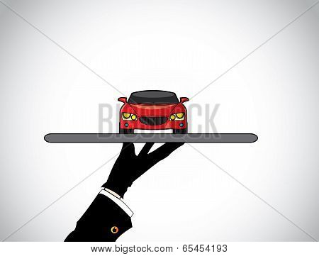 Agent Hand Silhouette Of A Dealer Agent Offering The Best Red Car - Concept Illustration