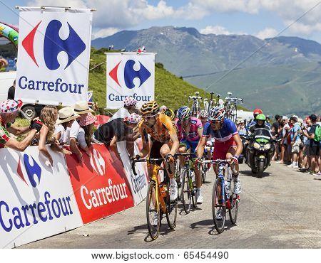Cyclists On Col De Val Louron Azet