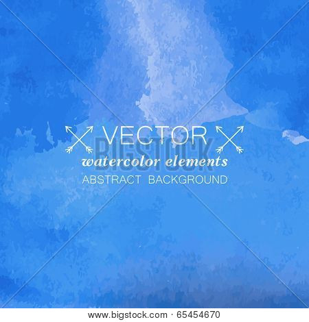 Blue watercolor grunge vector background for your design.