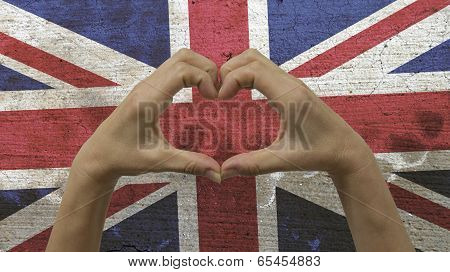 Hands Heart Symbol UK Flag