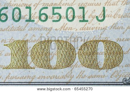 Fragment Of New 100 Us Dollar Banknote 2013 Edition.