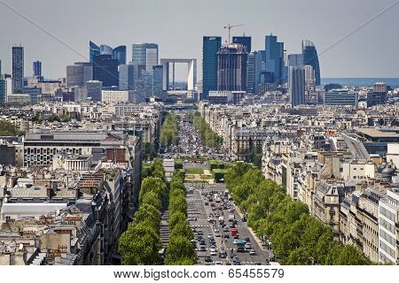 Paris Skyline Towards The Grande Arche