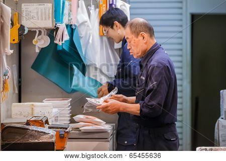 Worker at Tsukij Market in Tokyo