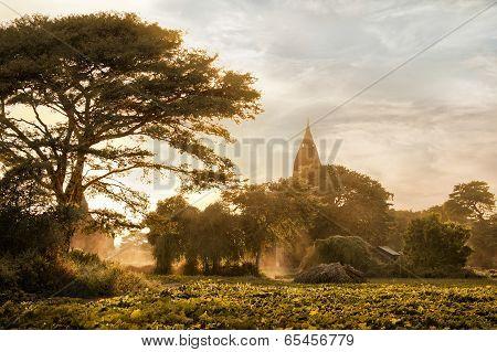 Amazing Golden Sunset at Bagan Kingdom. Myanmar (Burma)