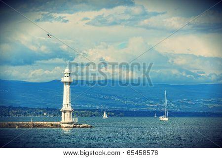 Beacon on the lake Leman in Geneva