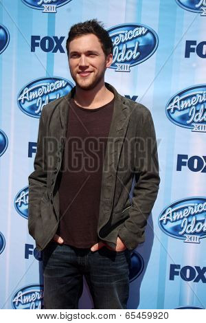 LOS ANGELES - MAY 21:  Phillip Phillips at the American Idol Season 13 Finale at Nokia Theater at LA Live on May 21, 2014 in Los Angeles, CA