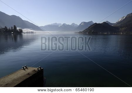Annecy Lake And Mountains With Pontoon