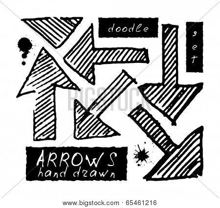 Grunge arrows set. Hand drawn. vector eps 8