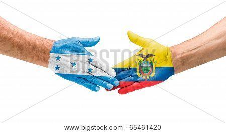 Handshake Honduras and Ecuador on a white background