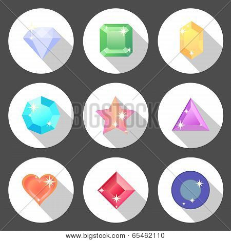 Gem Stone Flat Color Icons With Long Shadow