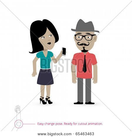 Woman and man - two characters prepared for cutout animation or static designs