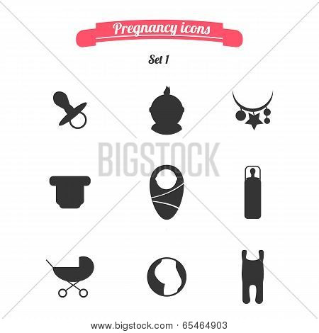 Pregnancy And Childbirth Icons Set 1