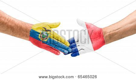 Handshake Ecuador and France on a white background