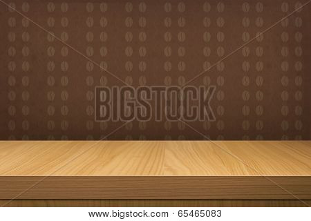 Empty Wooden Table Over Vintage Wallpaper With Pattern Coffee Beans