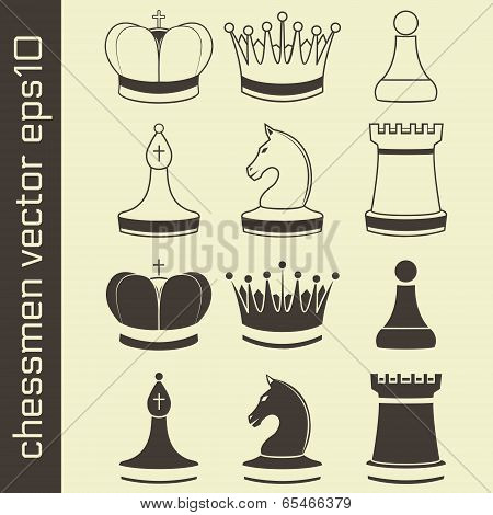 Black and White Chessmen Set Vector Illustration