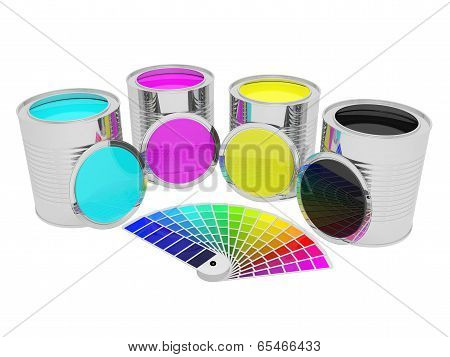 Cans With Color Paint And Pantone