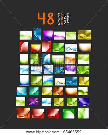 Mega collection of abstract business or hi-tech wave layouts. 48 design templates