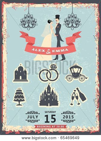 Vintage Invitation With Groom, Bride And Wedding Icons