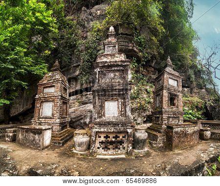 Ancient Buddhist Pagoda Cave Complex Bich Dong. Ninh Binh, Vietnam