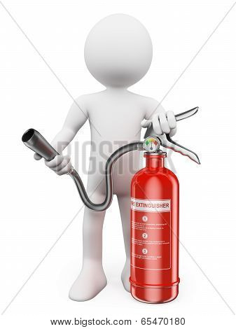 3D White People. Fire Extinguisher