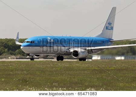 KLM Royal Dutch Airlines Boeing 737-800 aircraft preparing for take-off from the runway