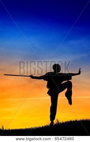Shaolin Pose At Sunset