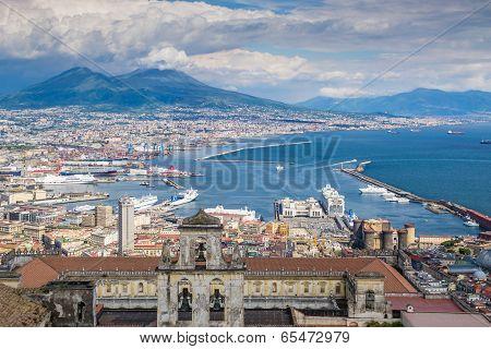 Naples bay and mount Vesuvius, Italy