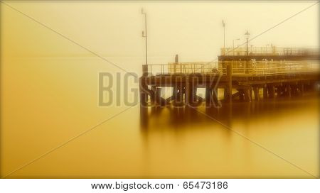 Pier on a golden river