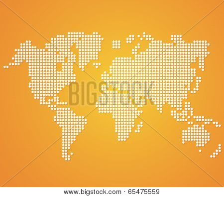 Dot World maps and globes on orange color background. Vector
