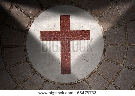 Porphyry Stone Floor With Marble Cross