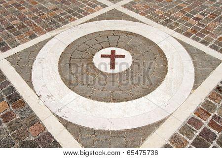 Porphyry Stone Floor With Marble Cross