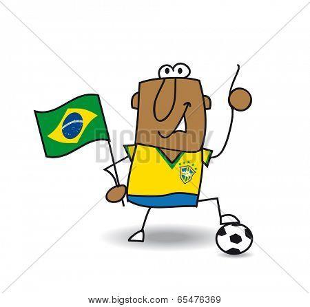 A brazilian soccer with a balloon and a brazilian flag
